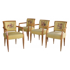 a rare and chic set of 4 french maurice dufrene 1940's sycamore game/bridge chairs with original embroidered upholstery depicting the bayeux tapestry