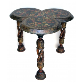 a rare and finely decorated Kashmiri lacquered clover-leaf side table on spiral supports