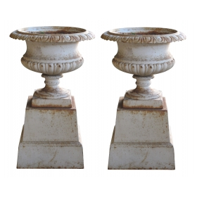 handsome pair of american neoclassical style iron painted campagna urns on stands