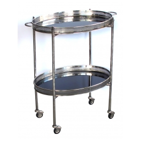 an elegant french mid-century nickel-plated oval-form drinks/bar cart with black glass trays