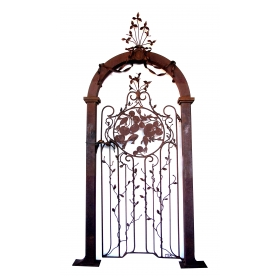 well-crafted custom made wrought iron gate with foliate vines and swimming fish