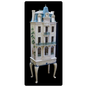 "rare and masterfully crafted wooden hand painted doll house/cabinet of a stately french chateau ""Chateau Blanche"" by famed artisans Eric & Carole Lansdown"