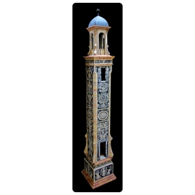 rare and masterfully crafted wooden hand painted doll house/cabinet of a florentine bell tower by famed artisans Eric & Carole Lansdown signed 'Carole Lansdown 2015 France'