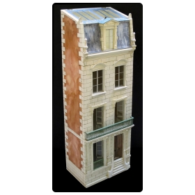 rare and masterfully crafted wooden hand painted dollhouse/cabinet of a stately french townhouse by famed artisan Eric Lansdown signed 'Eric Lansdown 2015 France'