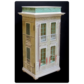 rare and masterfully crafted wooden painted and silk-screened dollhouse/cabinet of a charming neoclassical 'Casa Piccola' by famed artisan Eric Lansdown signed 'Eric Lansdown 1991 San Francisco'