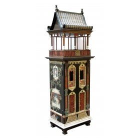 a rare and masterfully crafted wooden hand painted dollhouse/cabinet of a whimsical Chinese palace by famed artisans Eric & Carole Lansdown '