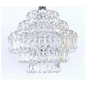 striking german 1960's Kinkeldey Lighting 5-tier chandelier with polished chrome frame and molded crystals