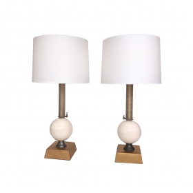 a pair of american custom-made industrial style metal and porcelain lamps