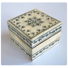 intricately decorated moroccan bone square-form box with hinged lid