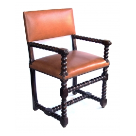 handsome english baroque style bobbin chair with leather upholstery