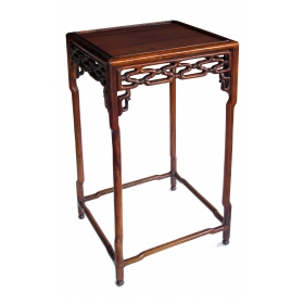 richly patinated chinese hongmu wood square side table with stylized openwork cloud-scroll apron and spandrels