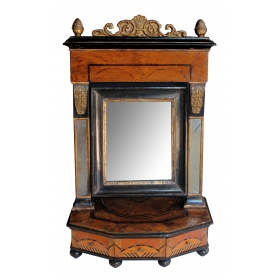 rare and richly-patinated italian burl walnut inlaid 3-drawer dressing mirror