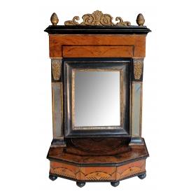 rare and richly-patinated italian burl walnut inlaid 3-drawer dressing mirror