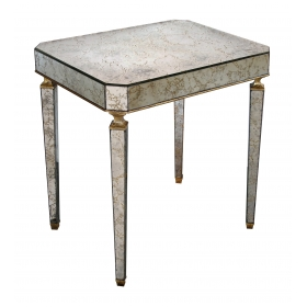 stylish american mid-century rectangular mirrored table with giltwood highlights by Archibald Taylor