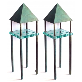good pair of custom bronze and glass stand lamps; murano, italy