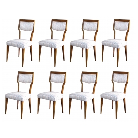 an stylish set of 8 italian paolo buffa 1940's walnut dining chairs