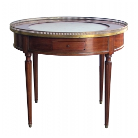 tailored french louis XVI style mahogany 2-drawer bouillotte/center table with inset marble top
