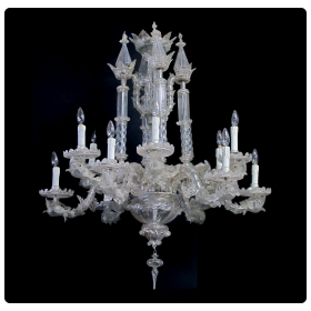 an impressive venetian 12-light chandelier with dolphin-form arms