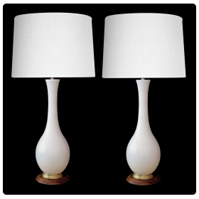 stylish pair of danish modern 1960's ivory glazed ceramic bottle-form lamps