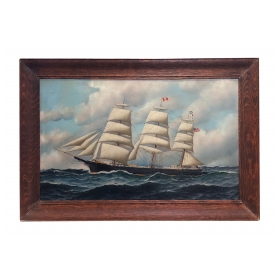 framed oil on board; Antonio Jacobsen (1850-1921) Painting of an American Clipper Ship