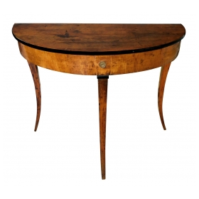 Shapely Italian Neoclassical Walnut and Beechwood Demilune Console Table