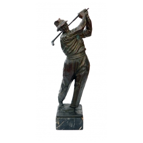 A Finely-modeled Vintage Patinated Bronze Figure of a Golfer