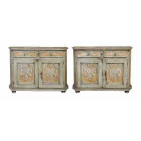 Pair Italian Baroque Polychrome Painted Credenzas