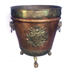 Massive English Brass and Copper Log Bin with Armorial Crests
