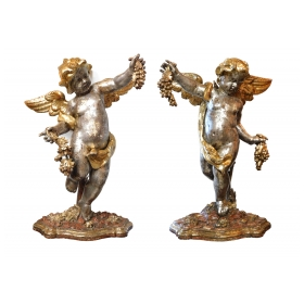 Large Pair of Roman Rococo Carved Giltwood Putti Harvesting Grapes