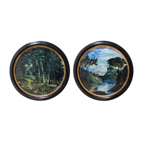 Large Pair of 19th Century Italian Glazed-Majolica Framed Plaques