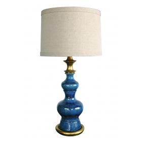 Vintage 1960s Double-baluster Saphire-blue Drip Glaze Lamp