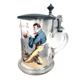 German Lidded Glass Beer Stein with a Man Bowling