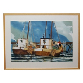 watercolor on paper: the old timers, oslo, norway by Michael Dunlavey, signed and framed