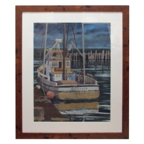 Watercolor on Paper  'Wayfarer, Noyo Harbor, California by Michael Dunlavey