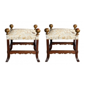 Large Pair of Arts and Crafts Style Square Stools