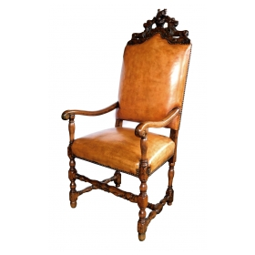 Handsome French Baroque Style Leather Upholstered Armchair