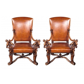 Grand Pair of Venetian Baroque Style High-back Arm Chairs
