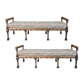Long Pair of Italian Neoclassical Style Benches with Rams Head Motifs