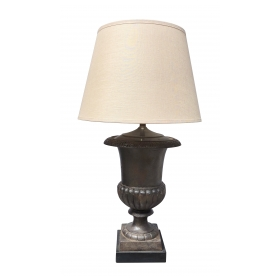 boldly-scaled french steel-brushed iron campagna urn now mounted as a lamp