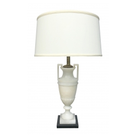 a striking and elegant italian art deco white alabaster urn lamp