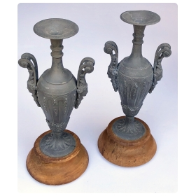 elegant pair of french neoclassical style double-handled spelter-metal urns