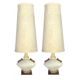 a stylish pair of american mid-century ivory crater-glazed lamps