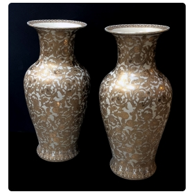 massive and well-executed pair of chinese palace vases with gilt floral vines
