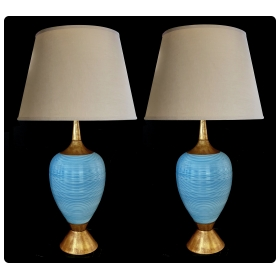 striking pair of american mid-century light-blue ovoid ceramic lamps