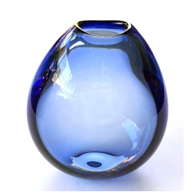 good quality danish 1960's blue glass teardrop vase by Per Lutken for Holmegaard; acid etched signature and dated 1961