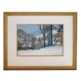 gouache on paper of an atmospheric wintry forest scene signed Robb Beebe