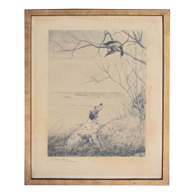 a vintage french hand-colored engraving signed 'setter et canard branche' by Léon Danchin (1887-1938)