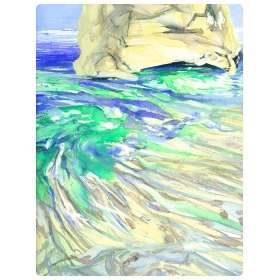 Milos 2006 no. 12 - Watercolor By William Stanisich, San Francisco presented by epoca.