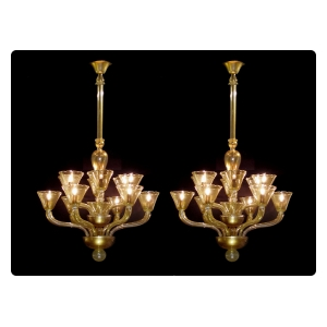 exceptional pair of murano mid-century gold aventurine 2-tier 12-light chandeliers