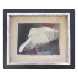 a moody american 1960's oil abstract painting of a bullfighter; signed